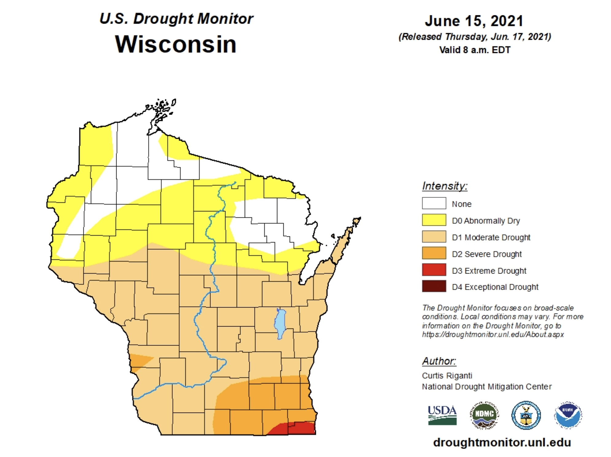 Chart shwoing drought conditions in Wisconsin in June of 2021.